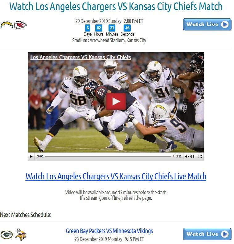 29 December 2019 Sunday 2 00 Pm Et Stadium Arrowhead Stadium Kansas City Click Image Or Visit Los Angeles Chargers Kansas City Chiefs Nfl Highlights