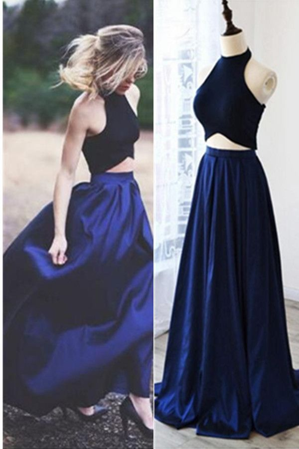 6053a8c2968 Two Pieces Royal Blue A-line Long Simple Halter Open Back Prom Dresses K663