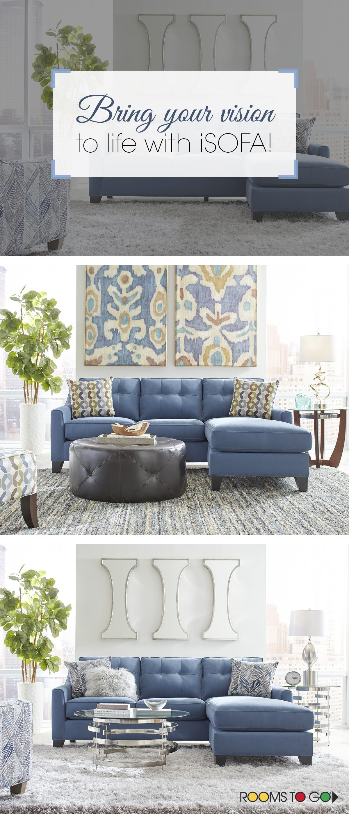 Cindy Crawford Home Madison Place Indigo 3 Pc Sectional Living Room    Sectionals (Blue)