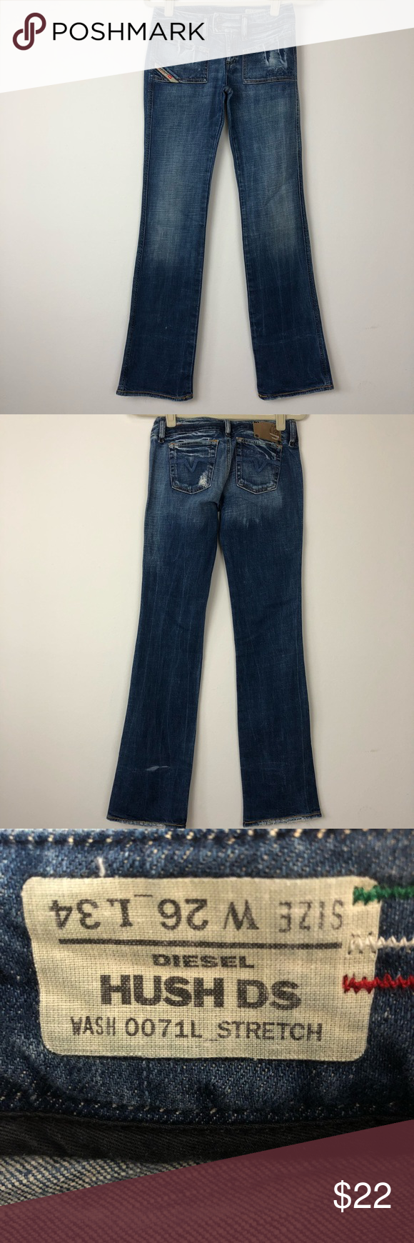 6cc54e9c368 Diesel Hush DS Jeans Low rise bootcut distressed jeans. Used in excellent  conditions no holes or stains Waist 26 Long 34 291G Diesel Jeans Boot Cut