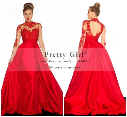 High Neck Red Lace Long Sleeves Ball Gown Prom Dress | red carpet ...