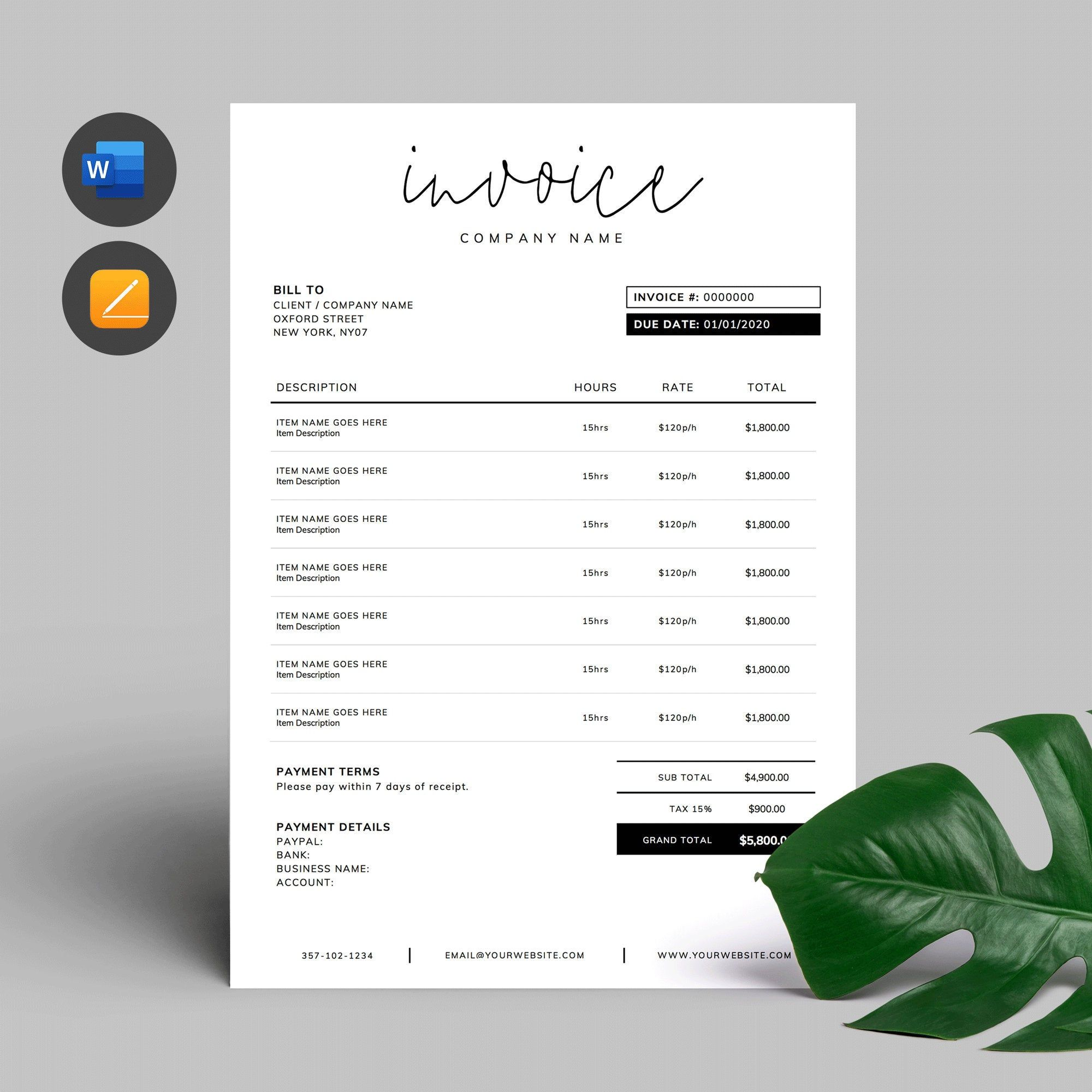 Printable Invoice Template Word Editable Invoice Custom Order Form Photography Invoic Photography Invoice Template Invoice Template Word Invoice Template