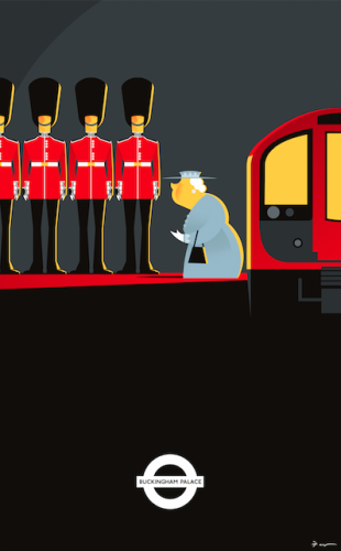 Going to Work by Fabio Corazza. Illustration based on the urban legend that HM the Queen has her own private secret tube station.