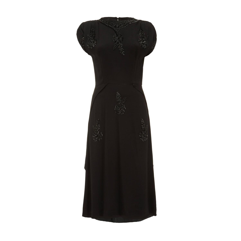 S black crepe vintage dress with floral beading stdibs