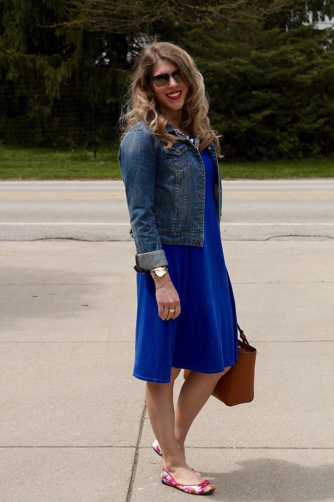 Cobalt Blue Dress Denim Jacket Floral Flats I Do Declaire