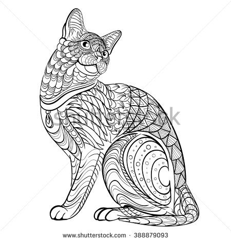 Coloring Book For Adult Vector Illustration Cat