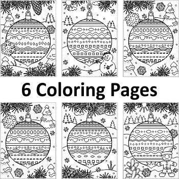 6 Coloring Pages with Decorated Ornaments, Non-CU Letter size - new christmas abc coloring pages