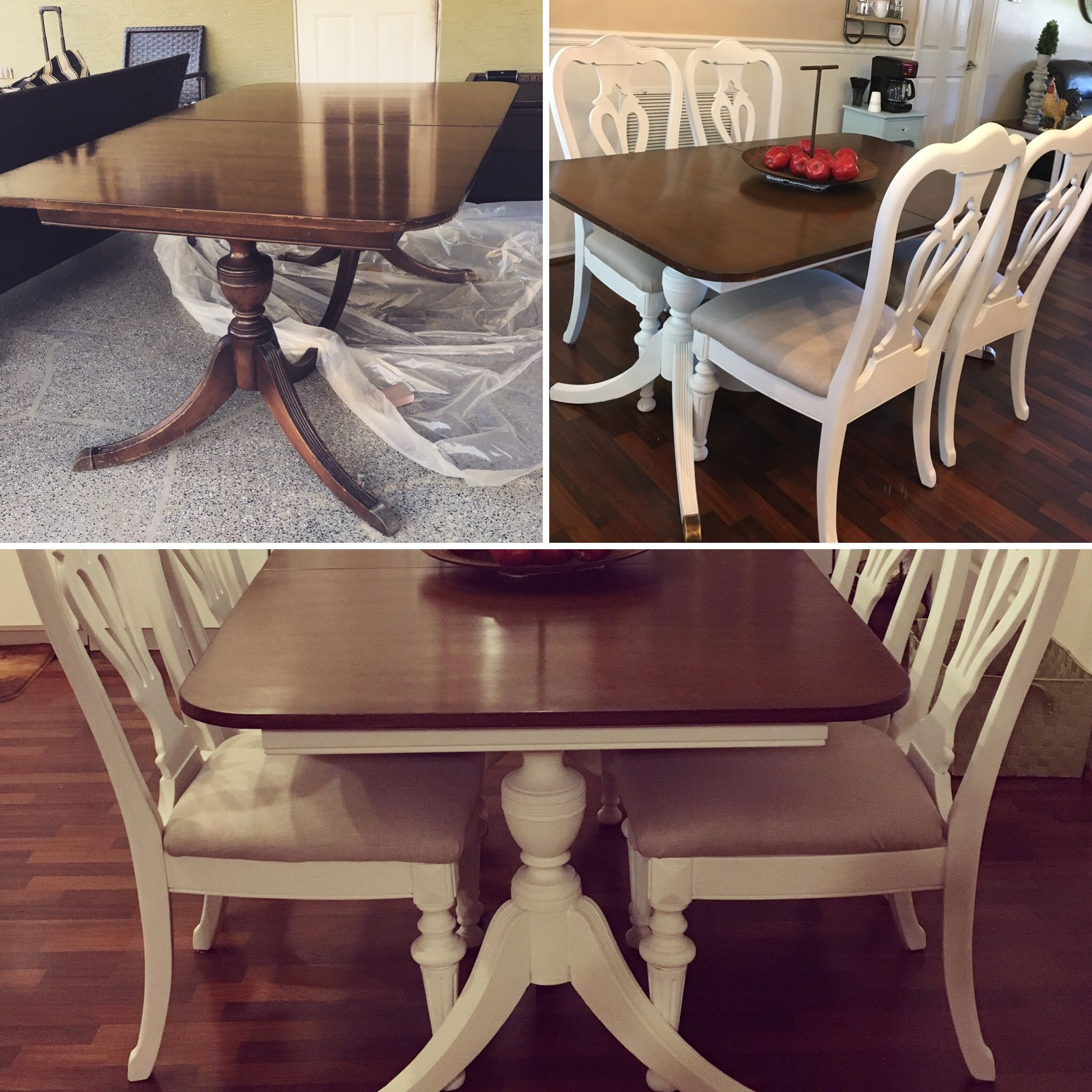 Duncan Phyfe Table Makeover White Chalk Paint On Base And Repainted Chairs From A Previous To Match