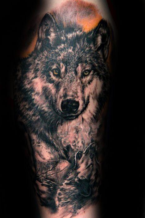 Leg Mens Shaded Realistic Running Wolf Tattoo Creative Tattoo