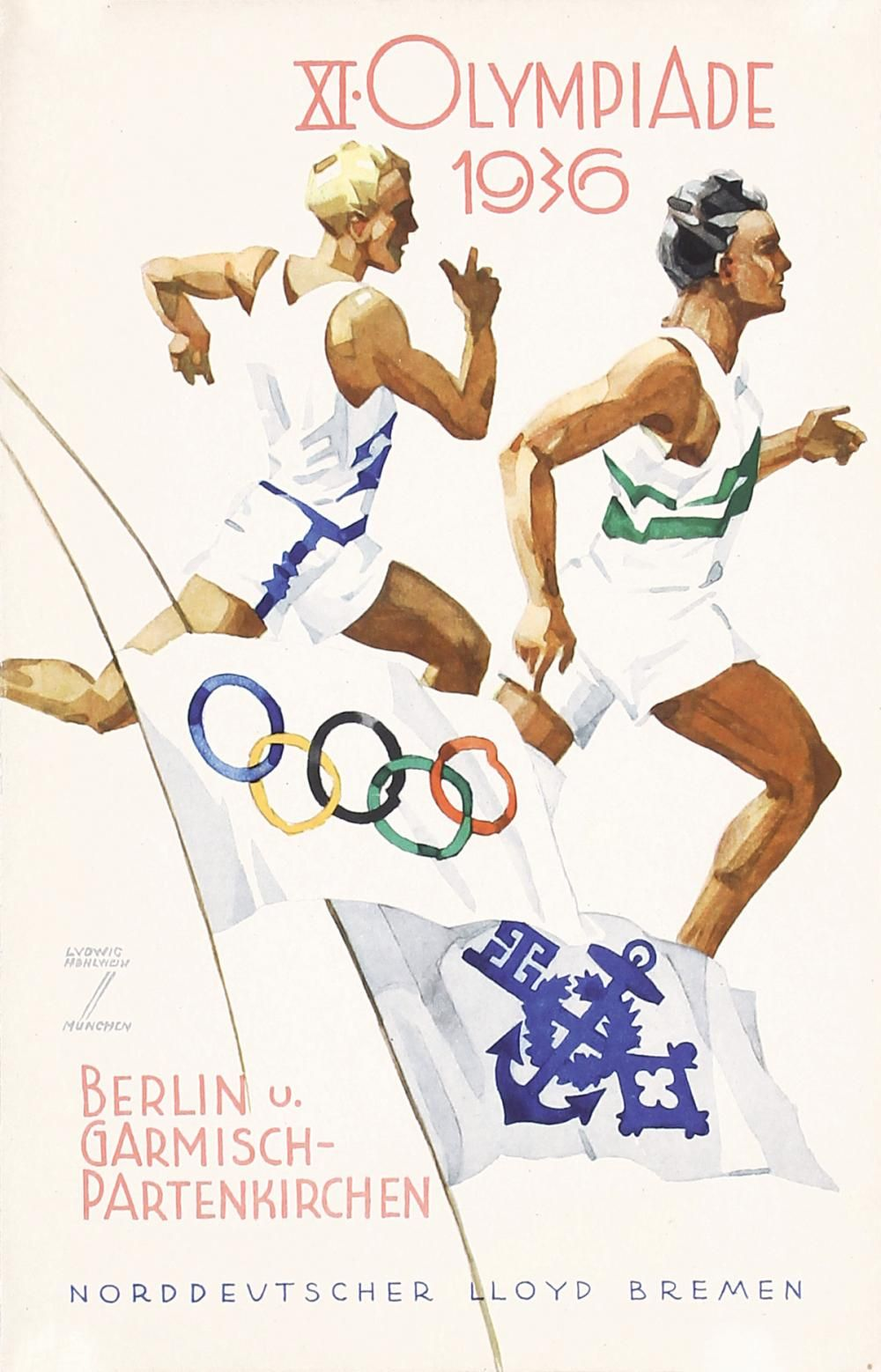 Artist Hohlwein Ludwig 1874 1949 Olympiade Menu Print 2 Brochures Technique Offset 1936 Olympische Spelen Vintage Posters Poster