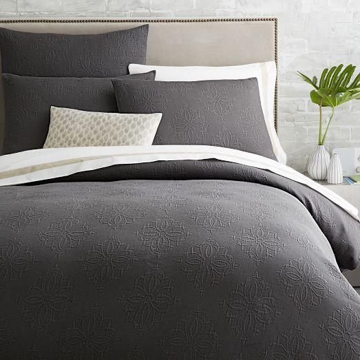 Organic Diamond Medallion Matelasse Duvet Cover Shams Slate Modern Bed Sheets Duvet Covers Modern Duvet Covers