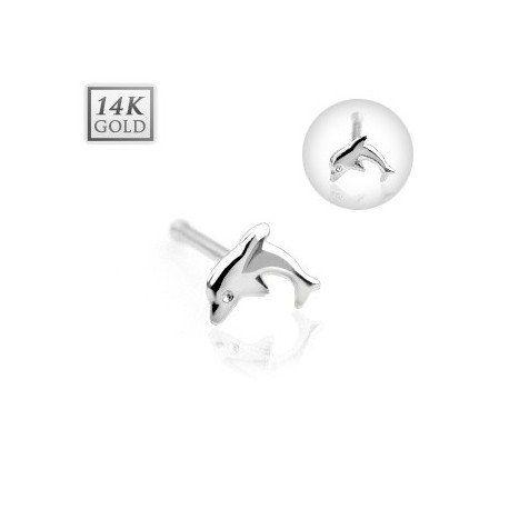 Piercing anneau pliable en or blanc 14 carats pour nez oreille avec gemmes