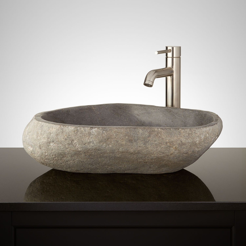 Kinterbish Dark Gray River Stone Vessel Sink Stone Vessel Sinks Sink Vessel Sink