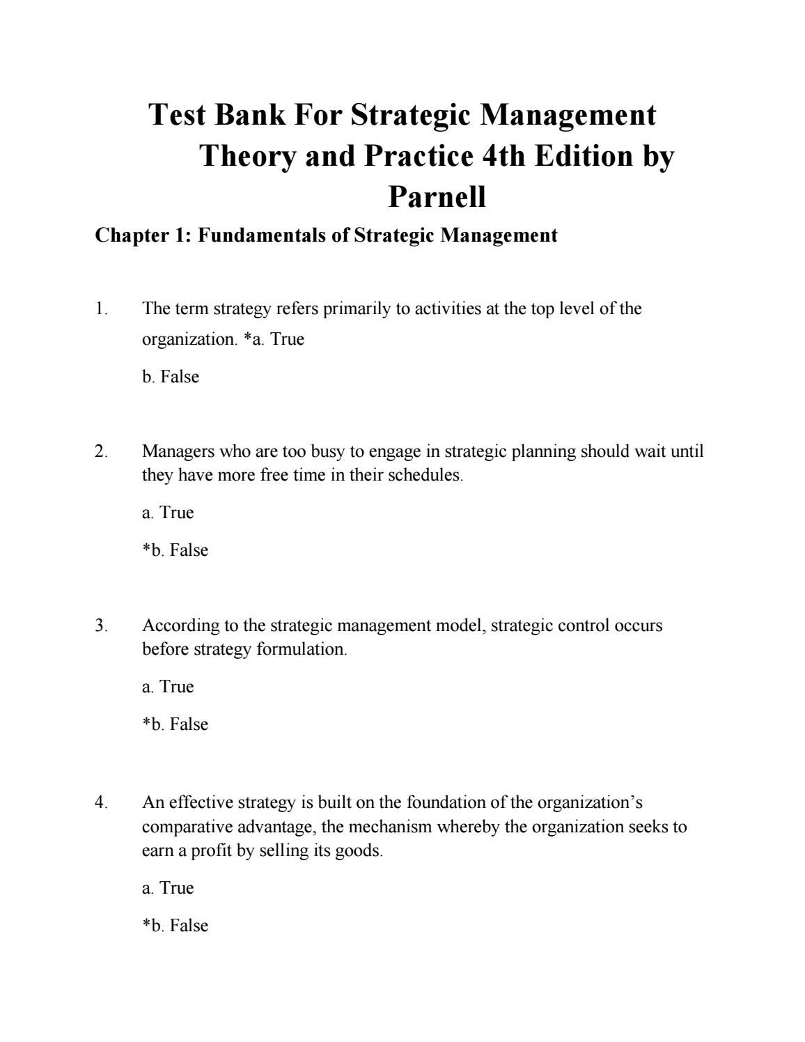 Download test bank for strategic management theory and practice 4th ...