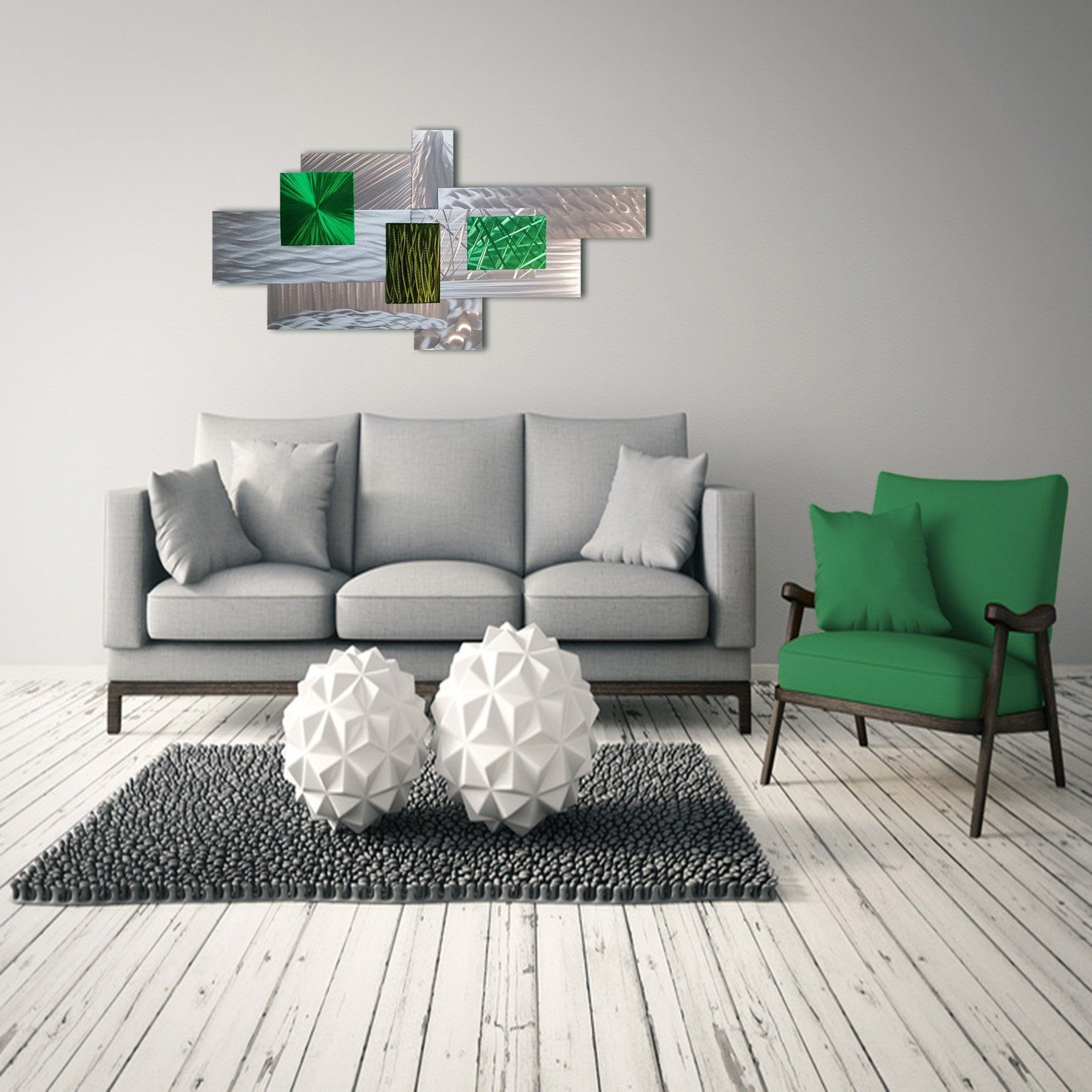 Green Silver Wall Sculpture 3d Metal Wall Art Modern Wall Sculpture Contemporary Wall Art Minimal Wall Decor Abstract Metal Art In 2020 Wall Art Decor Living Room Minimal Wall Decor Large Wall