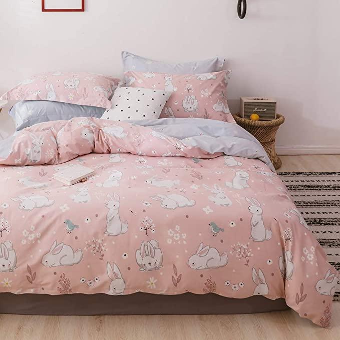 Layenjoy Rabbit Duvet Cover Set Twin 100 Cotton Bedding White Rabbit Bird Flower Leaf Pattern Pink Duvet Cover Duvet Cover Sets Pink Bed Sheets