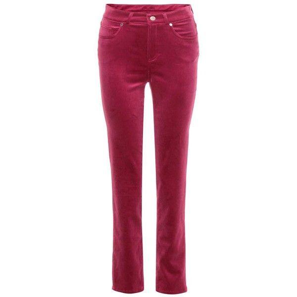 Loro Piana Mathias Velvet Trousers ($642) ❤ liked on Polyvore featuring pants, pink, velvet trousers, purple velvet pants, purple pants, loro piana and velvet pants