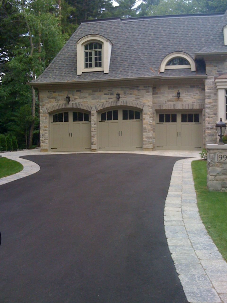 Contemporary with front steps gray brick driveway gray brick driveway - Asphalt Driveway With Paver Edging
