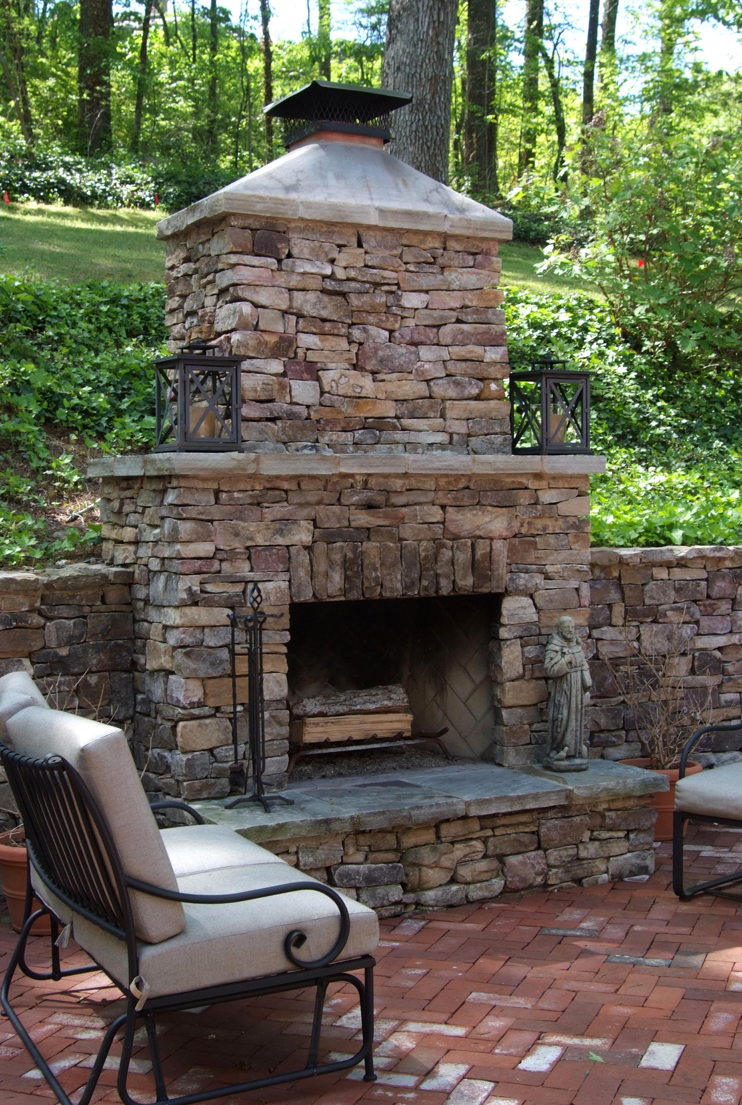 Delightful Rock Outdoor Patio Chimney .