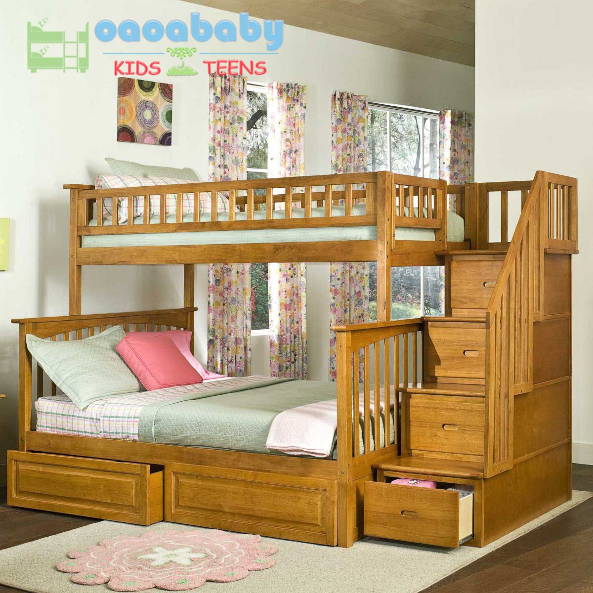 Loft bed with storage stairs  Giường tầng gỗ America White New GTAWN giường đẹp cho bé