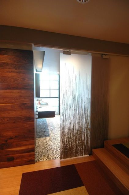 Barn Door Style Sliding Door With Translucent Glass For Light U0026 Privacy.  Modern Bedroom By Part 15