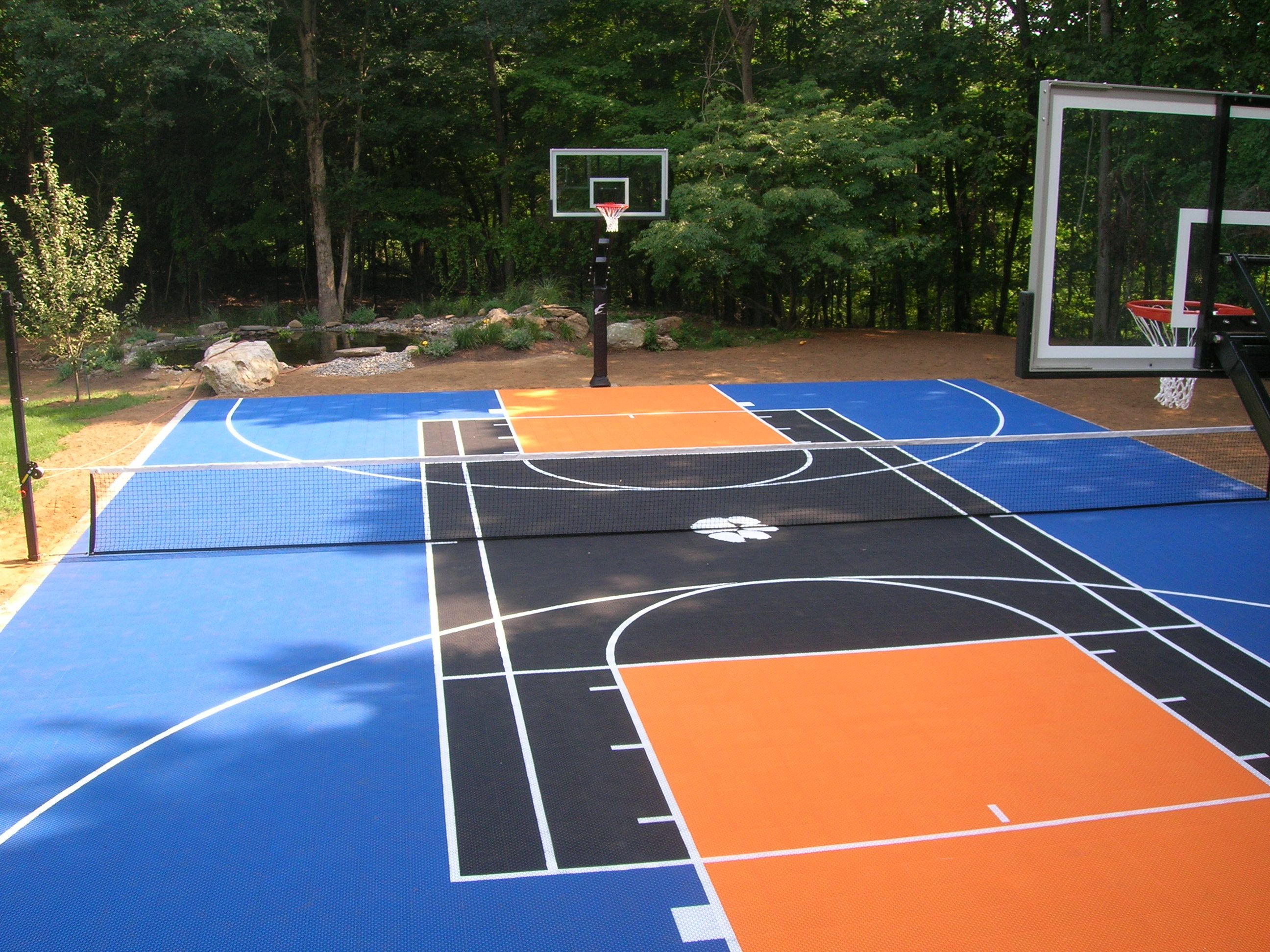 Sport court cost with awesome basketball outdoor sport for Backyard sport court