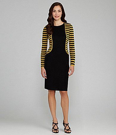 Exclusively Misook Stripe Colorblock  Dress #Dillards
