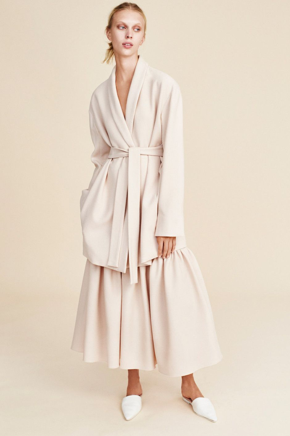 Ryan-Roche white wrap jacket, wide leg culottes, pointy loafers