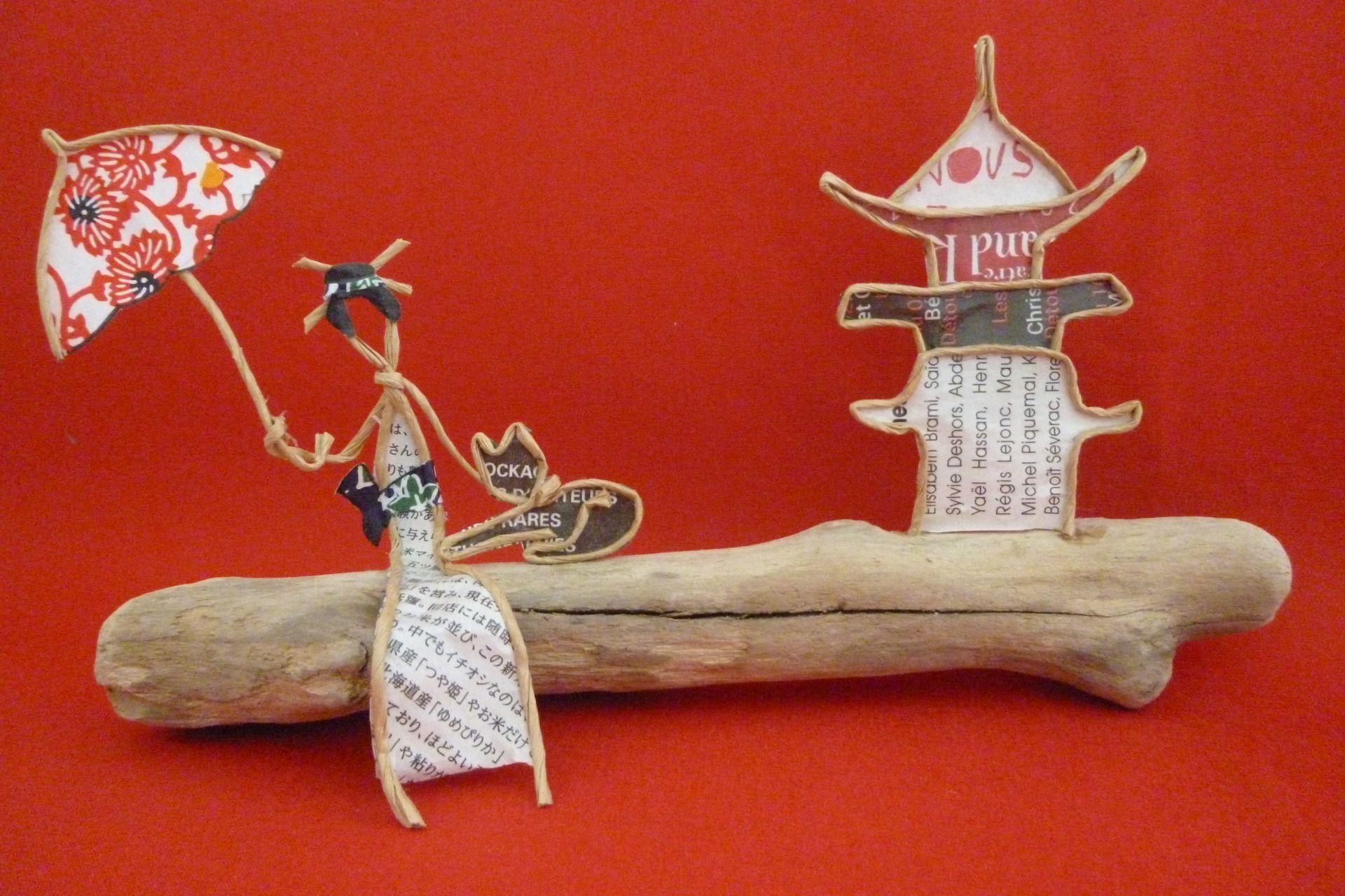 chat japonais figurines en ficelle et papier fil kraft arme. Black Bedroom Furniture Sets. Home Design Ideas