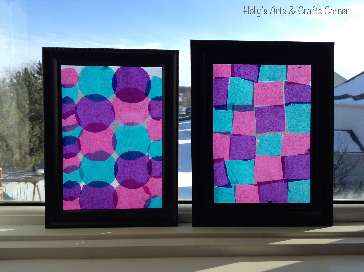 Craft project diy faux stained glass frames faux stained hollys arts and crafts corner craft project diy faux stained glass framesing tissue paper and contact paper in a dollar store frame jeuxipadfo Image collections