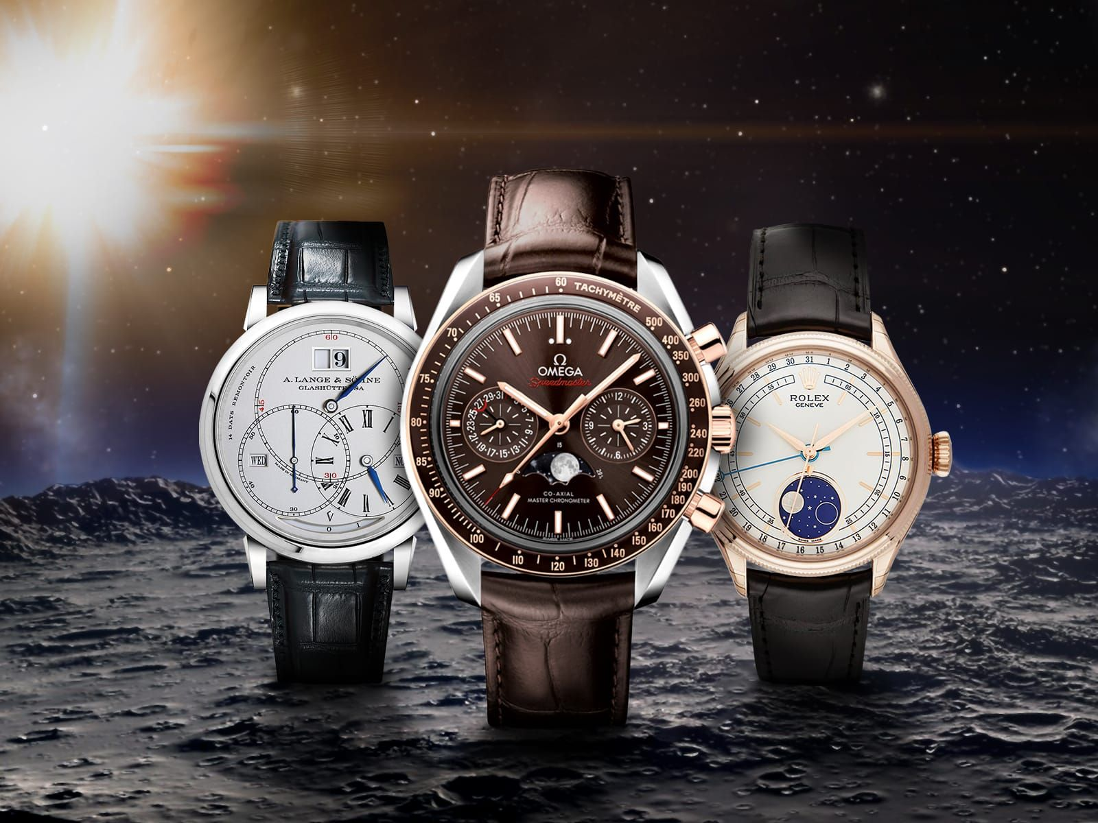 Sun Moon And Stars Watches With Moon Phase Displays