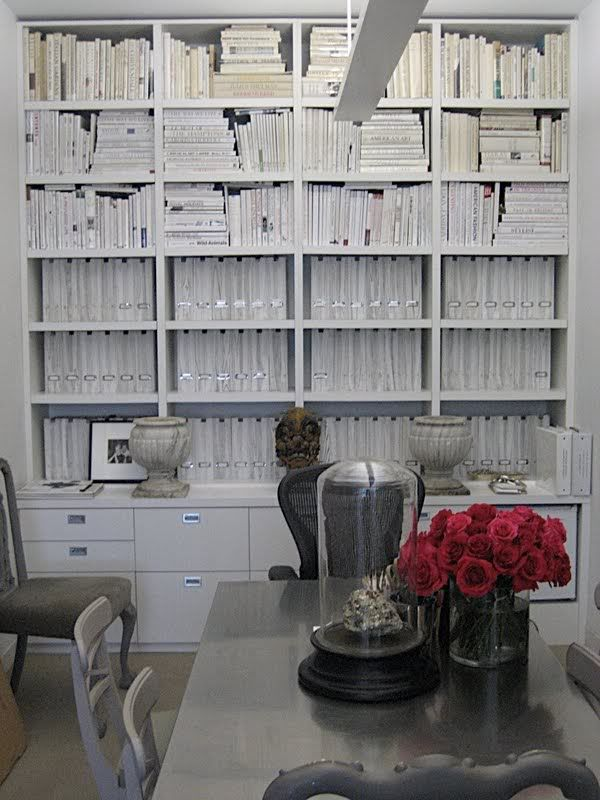 White on white book arrangement.  Very calming, yet how practical is it?