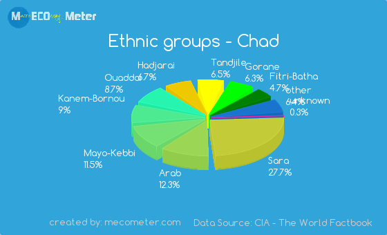 P= Population  The population Chad is 13 million and they have more than 200 ethnic groups.