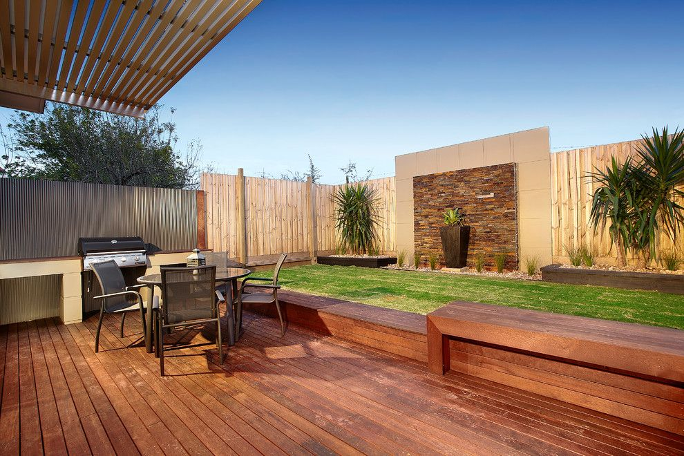 awning bbq decking feature garden wall garden wall grass