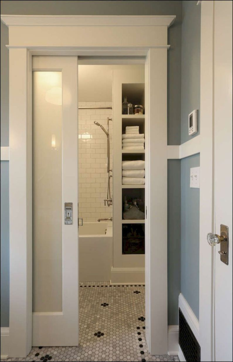 Frosted Glass Door Pantry Efficient Small Bathroom Remodel Design