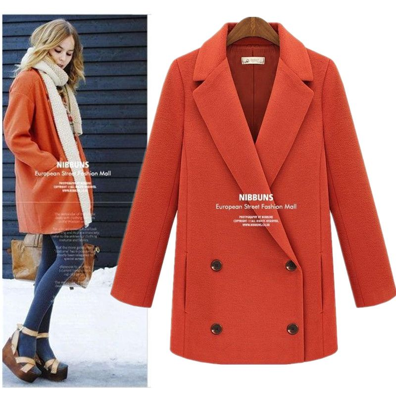 High Fashion British Military Style Double Breasted Thick Red Wool Pea Coats Woman 2013 Winter Thermal Woolen Peacoats XL-inWool & Blends from Apparel & Accessories on Aliexpress.com