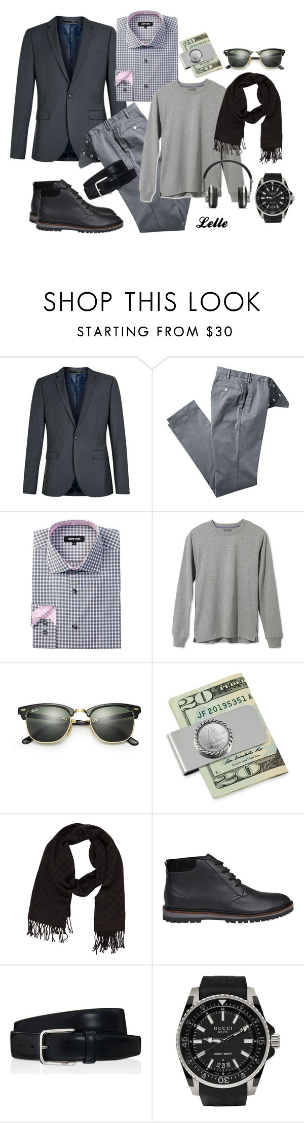 """""""TOPMAN Grey Skinny Fit Suit Jacket"""" by lellelelle ❤ liked on Polyvore featuring Topman, Jared Lang, L.L.Bean, Ray-Ban, American Coin Treasures, Gucci, Lacoste, Tod's, Master & Dynamic and men's fashion"""