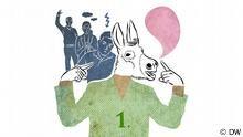 Zu sehen ist eine Reihe von vier Menschen, an erster Stelle ist ein Mensch mit einem Eselskopf, hinter ihm stehen drei Menschen, die sich ärgern.