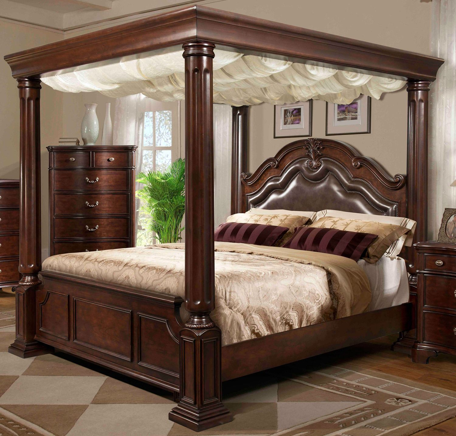 Tabasco Cherry Queen Canopy Bed RC Willey Home