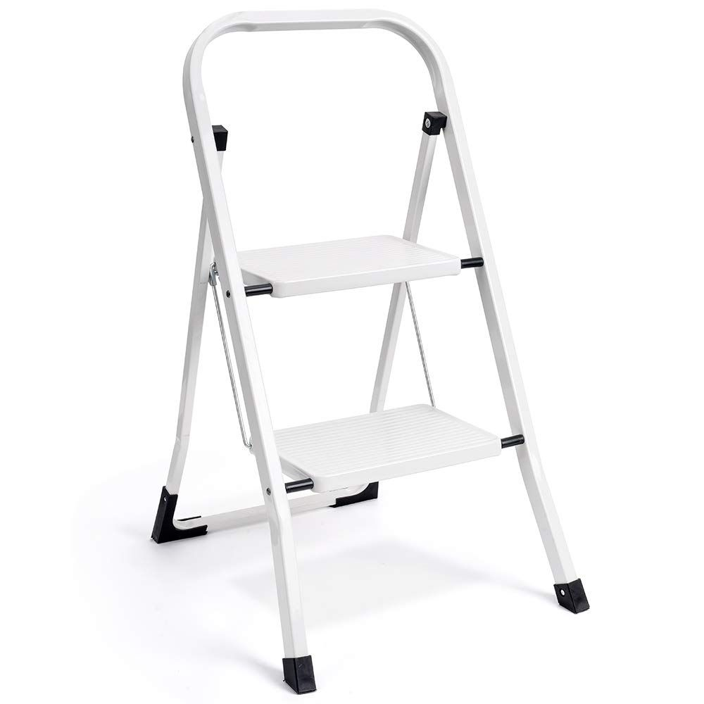 Delxo 2 Step Ladder Folding Step Stool Ladder With Handgrip Anti Slip Sturdy And Wide Pedal Multi Use For Household Folding Step Stool Step Ladders Step Stool