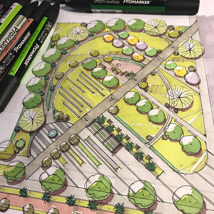 """Photo of Daniel Dillenburg on Instagram: """"Markers #landscape #architecture #design #freehand #render #drawing #sketch #project #landarch #plaza #masterplan #sketchdaily…"""""""