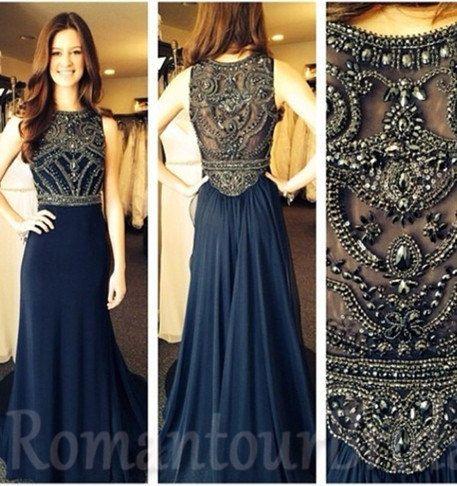 Long Prom Dress Navy Blue Prom Dress Long Ball by RomantourBridal ...