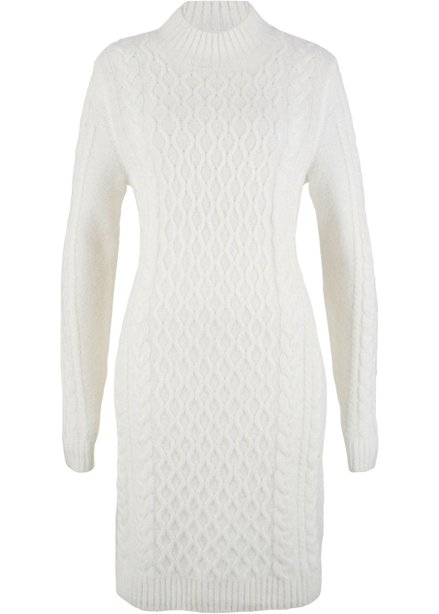 4121540e7e2e Pletené šaty přírodní bílá - koupit online - bonprix.cz Celková délka ve  vel.