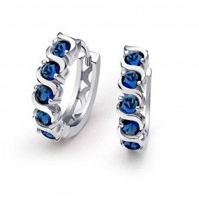 Bling Jewelry 925 Sterling Silver Blue Sapphire Color CZ Waved Huggie Earrings