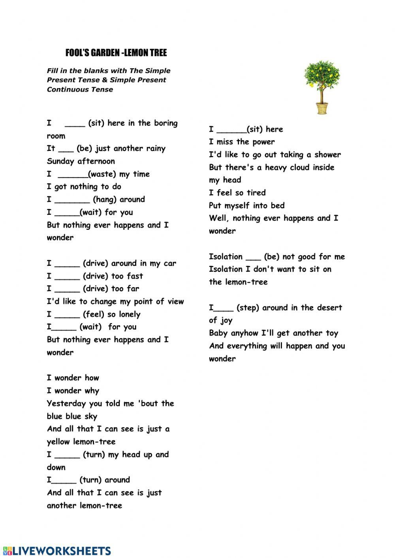 Song Lemon Tree Ficha Interactiva Ficha Interactiva Lemon Song Tree Simple Present Tense English As A Second Language Esl English As A Second Language