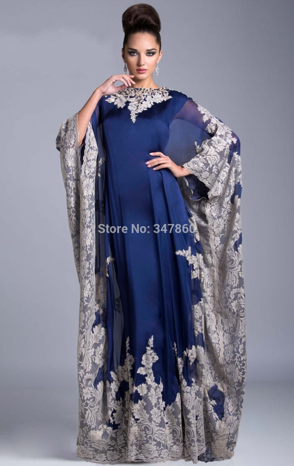 Evening Dresses Caftan Marocaine 2019 Luxury Beaded Dubai Kaftan Dress Three Quarter Sleeve Evening Dresses Saudi Arabian Prom Gown Formal Dress Crazy Price