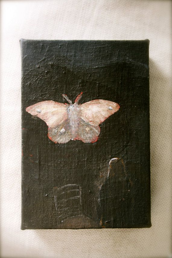 Wood Panel Small Painting Bee Original Art Photo Image Transfer Butterfly Moth Art Insect Art Encaustic Painting