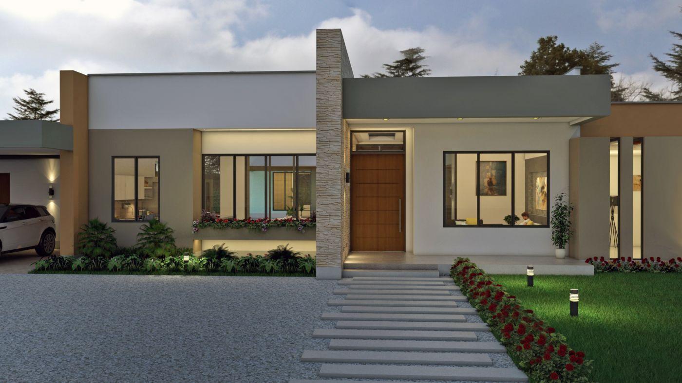 Fachadas de casas en un piso – Planos de casas modernas, diseños