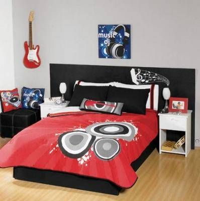 a musical note headboard on the bed and a black white and red