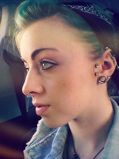 Girl With Green/Blue Hair, Wearing a Septum Ring, Sideburn ...